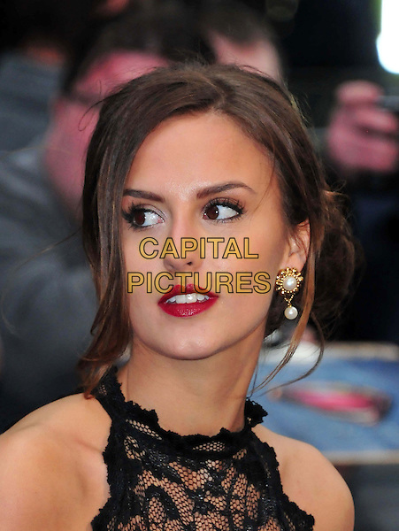 Lucy Watson<br /> 'Man Of Steel' UK film premiere, Empire cinema, Leicester Square, London, England.<br /> 12th June 2013<br /> headshot portrait black sleeveless lace red lipstick pearl earrings<br /> CAP/BF<br /> &copy;Bob Fidgeon/Capital Pictures