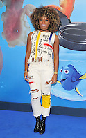 Fleur East at the &quot;Finding Dory&quot; UK film premiere, Odeon Leicester Square cinema, Leicester Square, London, England, UK, on Sunday 10 July 2016.<br /> CAP/CAN<br /> &copy;CAN/Capital Pictures