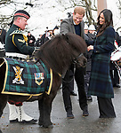 13.02.2018; Edinburgh, Scotland: MEGHAN MARKLE AND PRINCE HARRY VISIT EDINBURGH<br /> on their first official joint visit to Scotland. Prince Harry and Ms. Markle had the opportunity to learn more about organisations that work in the local community and nationwide, and celebrate youth in the Scottish Year of Young People 2018, during their visit.<br /> Meghan sported a long tartan coat for the visit.<br /> They are to be married on 19th May 2018 at Windsor Castle.<br /> Picture shows; Meghan Markle and prince Harry meeting Cruachan IV, the mascot of the Royal Regiment of Scotland.<br /> Mandatory Photo Credit: &copy;Francis Dias/NEWSPIX INTERNATIONAL<br /> <br /> IMMEDIATE CONFIRMATION OF USAGE REQUIRED:<br /> Newspix International, 31 Chinnery Hill, Bishop's Stortford, ENGLAND CM23 3PS<br /> Tel:+441279 324672  ; Fax: +441279656877<br /> Mobile:  07775681153<br /> e-mail: info@newspixinternational.co.uk<br /> Usage Implies Acceptance of Our Terms &amp; Conditions<br /> Please refer to usage terms. All Fees Payable To Newspix International