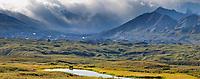 Panorama of Alaska Range mountains and the muldrow glacier moraine in the distance, Denali National Park, Interior, Alaska.