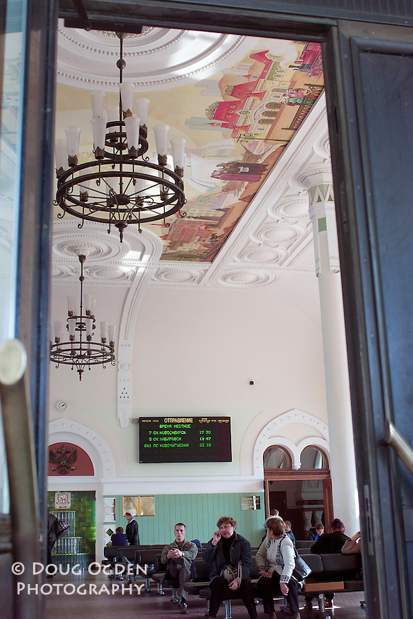 Ceiling murel in the trainstation waiting room representing the 2 ends of the Trans-Siberian Railroad, Vladivostok, Russia