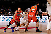 25th March 2018, Madrid, Spain; Endesa Basketball League, Real Madrid versus Valencia; Alberto Abalde (Valencia Basket) brings the ball foward challenged by Facundo Campazzo (Real Madrid Baloncesto)