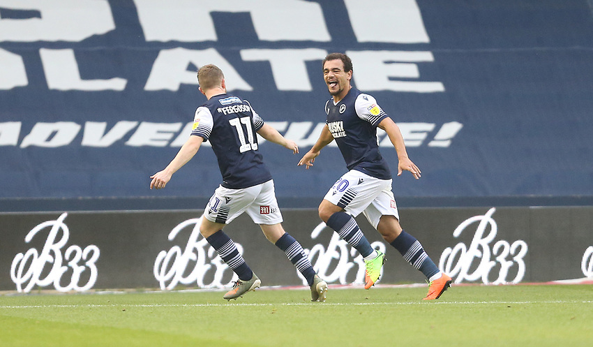 Millwall's Mason Bennett celebrates scoring his side's first goal with Shane Ferguson<br /> <br /> Photographer Rob Newell/CameraSport<br /> <br /> The EFL Sky Bet Championship - Millwall v Blackburn Rovers - Tuesday July 14th 2020 - The Den - London<br /> <br /> World Copyright © 2020 CameraSport. All rights reserved. 43 Linden Ave. Countesthorpe. Leicester. England. LE8 5PG - Tel: +44 (0) 116 277 4147 - admin@camerasport.com - www.camerasport.com