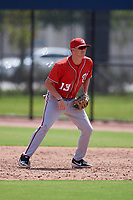 Washington Nationals first baseman Ian Sagdal (13) during a Minor League Spring Training Intrasquad game on March 28, 2019 at the FITTEAM Ballpark of the Palm Beaches in West Palm Beach, Florida.  (Mike Janes/Four Seam Images)