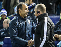 Sheffield Wednesday's head coach Jos Luhukay greets Bolton Wanderers' assistant manager Steve Parkin <br /> <br /> Photographer Andrew Kearns/CameraSport<br /> <br /> The EFL Sky Bet Championship - Sheffield Wednesday v Bolton Wanderers - Tuesday 27th November 2018 - Hillsborough - Sheffield<br /> <br /> World Copyright &copy; 2018 CameraSport. All rights reserved. 43 Linden Ave. Countesthorpe. Leicester. England. LE8 5PG - Tel: +44 (0) 116 277 4147 - admin@camerasport.com - www.camerasport.com