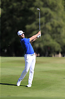 Lucas Bjerregaard (DEN) plays his 2nd shot on the 17th hole during Sunday's Final Round 4 of the 2018 Omega European Masters, held at the Golf Club Crans-Sur-Sierre, Crans Montana, Switzerland. 9th September 2018.<br /> Picture: Eoin Clarke | Golffile<br /> <br /> <br /> All photos usage must carry mandatory copyright credit (&copy; Golffile | Eoin Clarke)