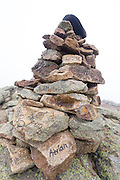 Graffiti on rock cairn on the summit of Little Haystack Mountain in the White Mountains, New Hampshire. The Appalachian Trail (Franconia Ridge Trail) travels over this mountain.