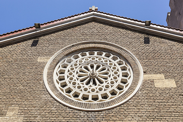 Round window on front of Roman Catholic Church of Saint Anthony of Padua, Constanta, Romania   June 2015<br /> CAP/MEL<br /> &copy;MEL/Capital Pictures /MediaPunch ***NORTH AND SOUTH AMERICA ONLY***