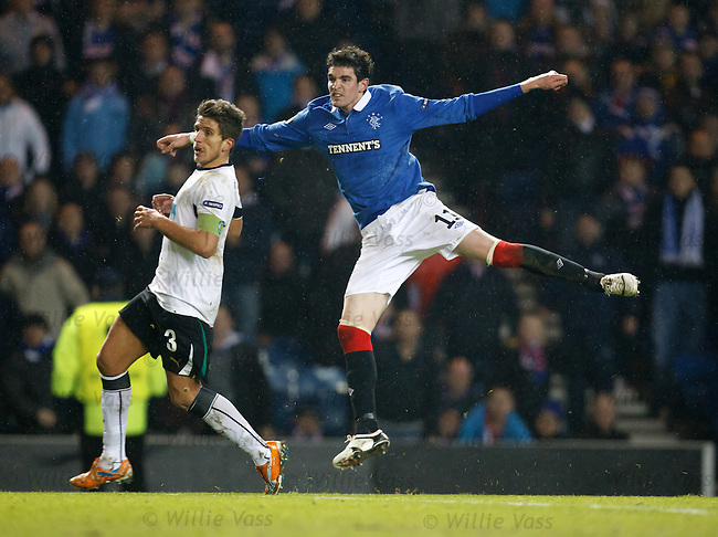 Kyle Lafferty blasts in an effor towards the end but misses