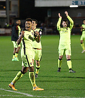 Exeter City's Ollie Watkins savours the win at the end of the Sky Bet League 2 match between Crawley Town and Exeter City at Broadfield Stadium, Crawley, England on 28 February 2017. Photo by Carlton Myrie / PRiME Media Images.