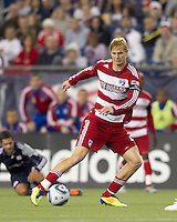 FC Dallas midfielder Brek Shea (20) dribbles. In a Major League Soccer (MLS) match, the New England Revolution defeated FC Dallas, 2-0, at Gillette Stadium on September 10, 2011.