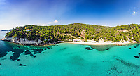 The beach Milia of Alonissos island from drone view, Greece
