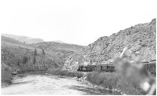Rail fan excursion entering Black Canyon.<br /> D&amp;RGW  Black Canyon, CO  Taken by Schick, Joe - 9/19/1948