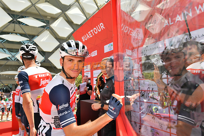 Giulio Ciccone (ITA) and Trek-Segafredo at sign on before Stage 5 the Al Ain Water Stage of the UAE Tour 2020 running 162km from Al Ain to Jebel Hafeet, Dubai. 27th February 2020.<br /> Picture: LaPresse/Massimo Paolone   Cyclefile<br /> <br /> All photos usage must carry mandatory copyright credit (© Cyclefile   LaPresse/Massimo Paolone)