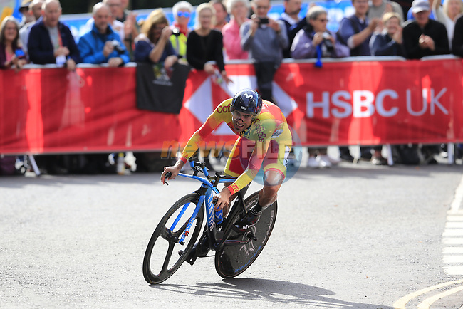 Luis Guillermo Mas Bonet (ESP) in action during the Men Elite Individual Time Trial of the UCI World Championships 2019 running 54km from Northallerton to Harrogate, England. 25th September 2019.<br /> Picture: Eoin Clarke | Cyclefile<br /> <br /> All photos usage must carry mandatory copyright credit (© Cyclefile | Eoin Clarke)