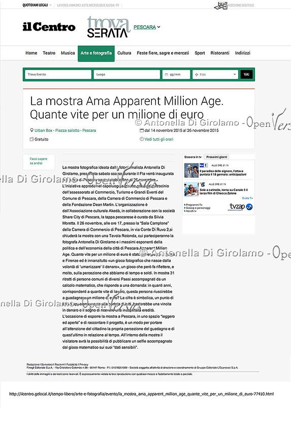 AMA-Apparent Million Age.<br /> Mostra fotografica sulla percezione del valore dei numeri, usando calcoli matematici umanizzati.