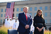 United States President Donald J. Trump and first lady Melania Trump pause in front of the  Pentagon during the 18th anniversary commemoration ceremony of the September 11 terrorist attacks, in Arlington, Virginia on Wednesday, September 11, 2019.   <br /> Credit: Kevin Dietsch / Pool via CNP /MediaPunch