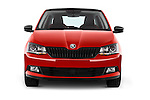 Car photography straight front view of a 2016 Skoda Fabia Monte-Carlo 5 Door Hatchback Front View