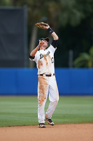 Wake Forest Demon Deacons shortstop Bruce Steel (17) catches a pop fly during the game against the Florida Gators in the completion of Game Two of the Gainesville Super Regional of the 2017 College World Series at Alfred McKethan Stadium at Perry Field on June 12, 2017 in Gainesville, Florida. The Demon Deacons walked off the Gators 8-6 in 11 innings. (Brian Westerholt/Four Seam Images)