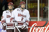 Anthony Raiola (UMass - 5), Conor Allen (UMass - 2) - Sweden's Under-20 team played its last game on this Massachusetts tour versus the University of Massachusetts-Amherst Minutemen losing 5-1 on Saturday, November 6, 2010, at the Mullins Center in Amherst, Massachusetts.