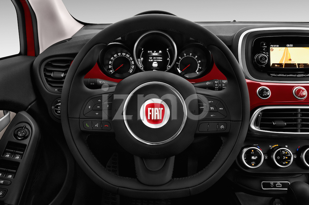 Car pictures of steering wheel view of a 2016 Fiat 500X-City-Look Pop-Star 5 Door Suv Steering Wheel