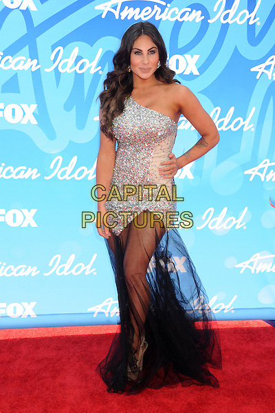 Mikalah Gordon.American Idol 2013 Finale - Arrivals held at the Nokia Theatre LA Live, Los Angeles, California, USA..May 16th, 2013.full length black sheer tulle chiffon dress silver one shoulder hand on hip.CAP/ADM/BP.©Byron Purvis/AdMedia/Capital Pictures