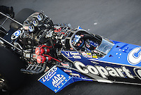 Sept. 17, 2010; Concord, NC, USA; NHRA top fuel dragster driver Brandon Bernstein sits strapped into his car during qualifying for the O'Reilly Auto Parts NHRA Nationals at zMax Dragway. Mandatory Credit: Mark J. Rebilas/