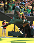10/02/10-- Oregon's LaMichael James celebrates after scoring a touchdown in the 2nd quarter against Stanford at Autzen Stadium in Eugene, Or..Photo by Jaime Valdez.........