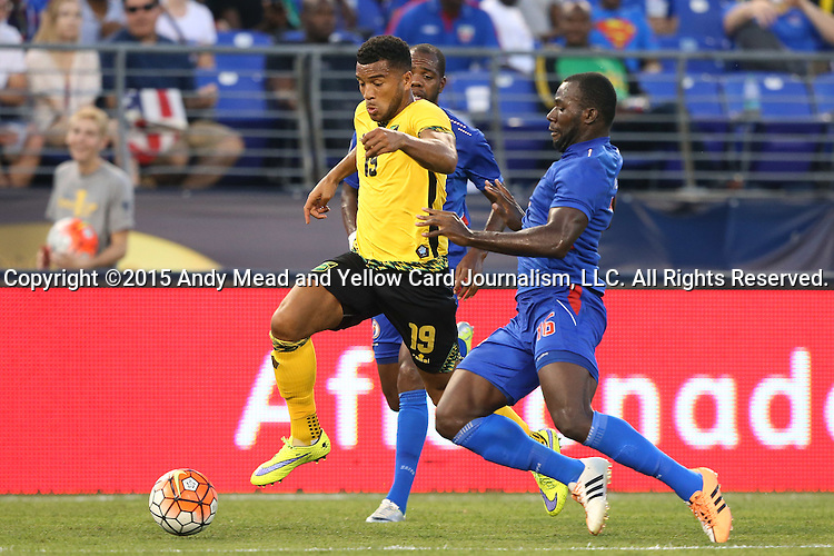 18 July 2015: Adrian Mariappa (JAM) (19) and Jean-Marc Alexandre (HAI) (16). The Jamaica Men's National Team played the Haiti Men's National Team at M&T Bank Stadium in Baltimore, Maryland in a 2015 CONCACAF Gold Cup quarterfinal match. Jamaica won the game 1-0.
