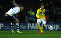 Leeds United's Pablo Hernandez under pressure from Preston North End's Josh Earl<br /> <br /> Photographer Kevin Barnes/CameraSport<br /> <br /> The EFL Sky Bet Championship - Preston North End v Leeds United -Tuesday 9th April 2019 - Deepdale Stadium - Preston<br /> <br /> World Copyright &copy; 2019 CameraSport. All rights reserved. 43 Linden Ave. Countesthorpe. Leicester. England. LE8 5PG - Tel: +44 (0) 116 277 4147 - admin@camerasport.com - www.camerasport.com