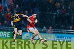 Paudie Clifford, East Kerry in action against David Naughten, Dr Crokes  during the Kerry County Senior Club Football Championship Final match between East Kerry and Dr. Crokes at Austin Stack Park in Tralee, Kerry.