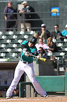 University of Coastal Carolina Chanticleers infielder Conner Owings #6 at bat during a game against the University of Pittsburgh Panthers at Ticketreturn.com Field at Pelicans Ballpark on February 16, 2014 in Myrtle Beach, South Carolina. Pittsburgh defeated Coastal Carolina by the score of 10-6. (Robert Gurganus/Four Seam Images)
