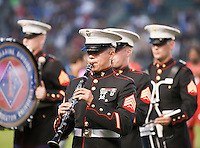 CARSON, CA – June 3, 2011: A US Marine Sargent play the National Anthem before the match between LA Galaxy and DC United at the Home Depot Center in Carson, California. Final score LA Galaxy 0, DC United 0.