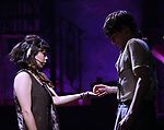"""Eva Noblezada and Reeve Carney during the Broadway Press Performance Preview of """"Hadestown""""  at the Walter Kerr Theatre on March 18, 2019 in New York City."""
