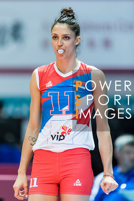 Middle blocker Stefana Veljkovic of Serbia reacts during warm up section prior the FIVB Volleyball World Grand Prix - Hong Kong 2017 match between Japan and Serbia on 22 July 2017, in Hong Kong, China. Photo by Yu Chun Christopher Wong / Power Sport Images