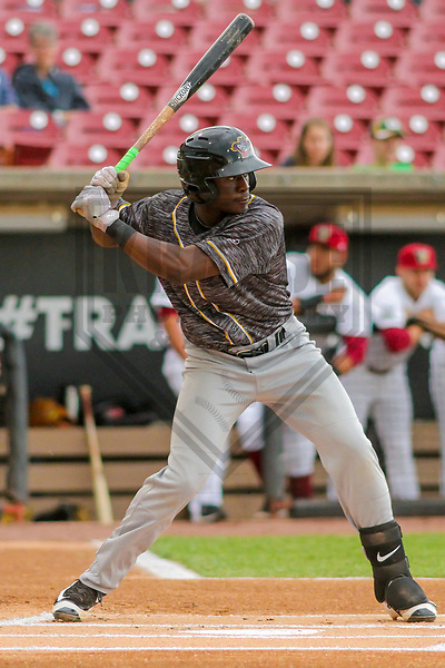 Quad Cities River Bandits outfielder Daz Cameron (16) during a Midwest League game against the Wisconsin Timber Rattlers on June 8, 2017 at Fox Cities Stadium in Appleton, Wisconsin.  Wisconsin defeated Quad Cities 8-3. (Brad Krause/Krause Sports Photography)