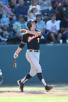 Trever Morrison (7) of the Oregon State Beavers bats during a game against the UCLA Bruins at Jackie Robinson Stadium on April 4, 2015 in Los Angeles, California. UCLA defeated Oregon State, 10-5. (Larry Goren/Four Seam Images)