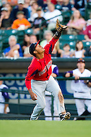 Pawtucket Red Sox first baseman Reynaldo Rodriguez #5 catches a ball in foul territory during an International League game against the Rochester Red Wings at Frontier Field on August 11, 2012 in Rochester, New York.  Rochester defeated Pawtucket 5-3.  (Mike Janes/Four Seam Images)