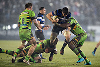 Josh Bayliss of Bath Rugby takes on the Northampton Saints defence. Anglo-Welsh Cup Semi Final, between Bath Rugby and Northampton Saints on March 9, 2018 at the Recreation Ground in Bath, England. Photo by: Patrick Khachfe / Onside Images