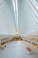 New York, New York City. New Yorkers are told to stay home during the corona virus, (COVID-19) so New York has become eerily empty. The oculus, World Trade Center.