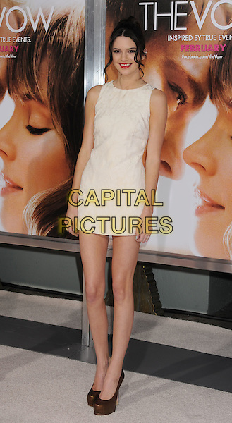 "Kendall Jenner.""The Vow"" Los Angeles Premiere held at Grauman's Chinese Theatre, Hollywood, California, USA..February 6th, 2012.full length dress bronze shoes white sleeveless  .CAP/ROT/TM.©Tony Michaels/Roth Stock/Capital Pictures"