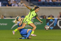 Bridgeview, IL - Wednesday August 16, 2017: Julie Ertz, Katlyn Johnson during a regular season National Women's Soccer League (NWSL) match between the Chicago Red Stars and the Seattle Reign FC at Toyota Park. The Seattle Reign FC won 2-1.