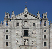 Main facade, Convento de Santa Teresa, (Convent of St Teresa), 1629-36,  Avila, Spain, built in Baroque style on the site of St Teresa's birthplace by architect and monk Alonso de san Jose (1600-54). Santa Teresa (1515-82), was a Carmelite nun, canonized 1622. Photograph by Manuel Cohen.