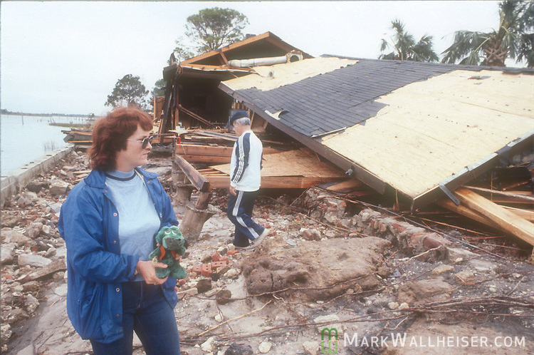 Apalachicola business owners  survey the Hut Restaurant in Apalachicola, Florida after  Hurricane Kate churned in the Gulf of Mexico off the coast of the Florida panhandle in November 21, 1985.  Kate was the second major hurricane of the 1985 season to hit the area following two months after Hurricane Elena.