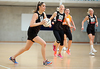 14.10.2016 Silver Ferns Te Paea Selby-Rickit at the Silver Ferns training at the Auckland Netball Centre in Auckland. Mandatory Photo Credit ©Michael Bradley.