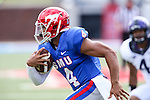 Southern Methodist Mustangs quarterback Matt Davis (4) in action during the game between the TCU Horned Frogs and the SMU Mustangs at the Gerald J. Ford Stadium in Fort Worth, Texas. TCU defeats SMU 56 to 0.