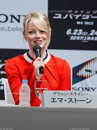"June 13, 2012, Tokyo, Japan - Actress Emma Stone attends the press conference for the film ""The Amazing Spider-Man."" The movie will be released in Japanese theaters on June 30, 2012. (Photo by Christopher Jue/Nippon News)"