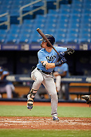Grant Witherspoon (18) at bat during the Tampa Bay Rays Instructional League Intrasquad World Series game on October 3, 2018 at the Tropicana Field in St. Petersburg, Florida.  (Mike Janes/Four Seam Images)