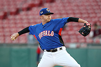 Buffalo Bisons pitcher Chris Schwinden #38 delivers a pitch during a game against the Gwinnett Braves at Coca-Cola Field on May 17, 2012 in Buffalo, New York.  Buffalo defeated Gwinnett 4-2.  (Mike Janes/Four Seam Images)