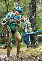 NWA Democrat-Gazette/BEN GOFF @NWABENGOFF<br /> Courtney Tanner of the United States races in the UCI Elite Women event Sunday, Oct. 6, 2019, during the the Fayettecross cyclocross races at Centennial Park at Millsap Mountain in Fayetteville.